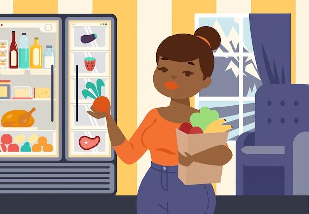 Menina positiva do tamanho que guarda o saco de papel com vegetais orgânicos e ilustração do vetor da fruta. garota na loja de alimentos, compras de produtos saudáveis, frescos e orgânicos.
