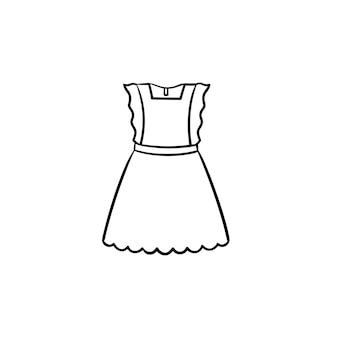 Menina pouco vestido esboço desenhado mão ícone de doodle. linda menina na moda vestido desenho vetorial ilustração para impressão, web, mobile e infográficos isolados no fundo branco.