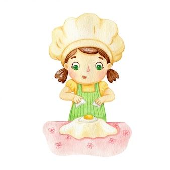 Menina, preparar massa com farinha. ilustração em aquarela de um padeiro