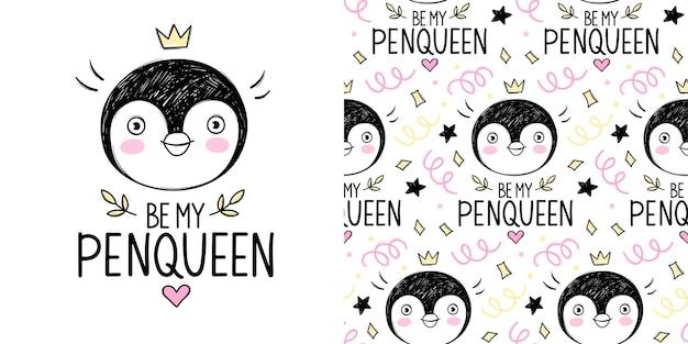 Menina princesa pinguim fofa com ilustração de coroa e padrão sem emenda