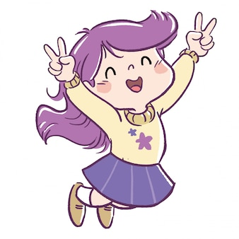Menina pulando que atingiu um objetivo