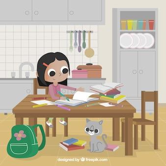 Menina que estuda na cozinha
