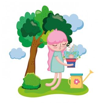 Menina que levanta a planta de casa com o regador no acampamento