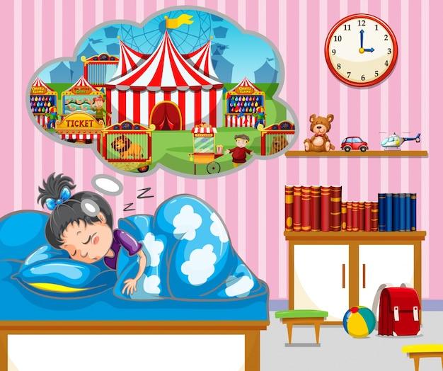 Menina que tem um bom sonho na cama