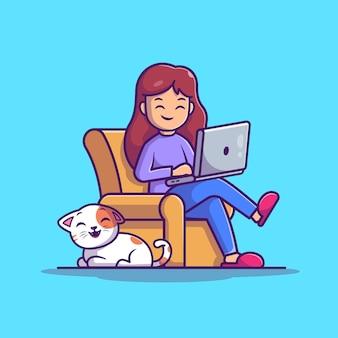 Menina que trabalha na ilustração do portátil. trabalhar em casa mascote personagem de desenho animado. pessoas isoladas