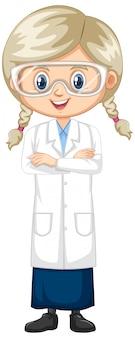 Menina que veste o vestido de laboratório isolado