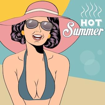 Menina quente do pop art em uma praia