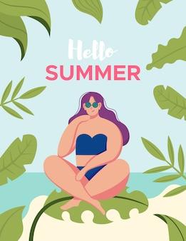 Menina relaxante na praia na palma da mão. modelo de design de cartaz ou folheto de férias de verão com mulher bonita na praia. convite para festa. estilo moderno dos desenhos animados. ilustração