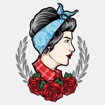Menina rockabilly com ilustração de tatuagem de ornamento
