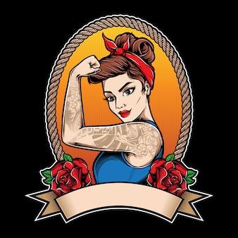 Menina rockabilly com tatuagem