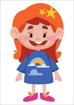 Menina ruiva dos desenhos animados em pleno crescimento pijama infantil divertido com um arco-íris vetor de personagens