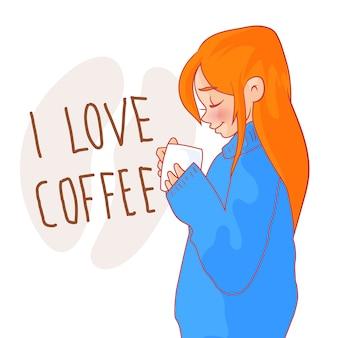 Menina ruiva dos desenhos animados na camisola com uma xícara de café