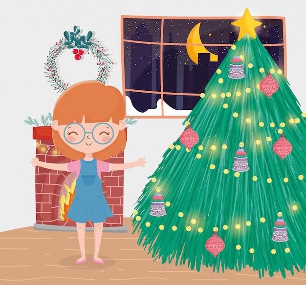 Menina sala de estar árvore decorativa bolas chaminé celebração feliz natal