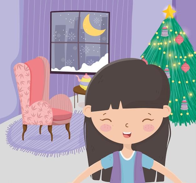 Menina sala de estar árvore sofá janela neve lua celebração feliz natal
