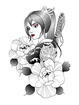 Menina samurai com katana nas costas