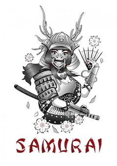 Menina samurai corajosa em equipamento de combate