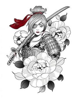 Menina samurai em equipamento de combate com uma espada
