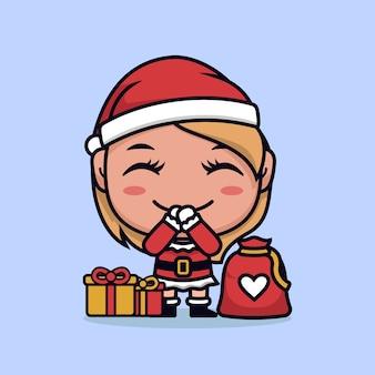 Menina santa com ilustração de desenho animado de presente de natal