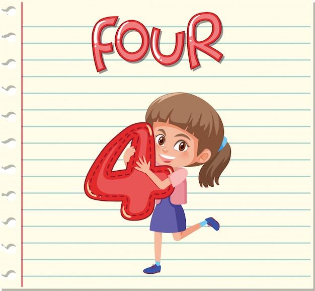 Menina, segurando, a, numere quatro