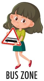 Menina segurando a placa de trânsito isolada no branco