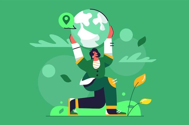 Menina segurando agachado planeta terra nas mãos acima da ilustração da cabeça