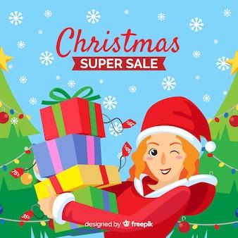 Menina, segurando, apresenta, natal, venda, bandeira