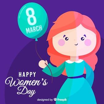 Menina, segurando, balloon, mulheres, dia, fundo