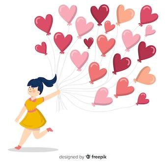 Menina, segurando, balões coração, fundo