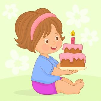 Menina, segurando, bolo aniversário