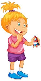 Menina segurando brinquedos de foguete