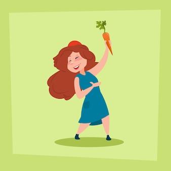 Menina, segurando, cenoura fazendeiros, filha