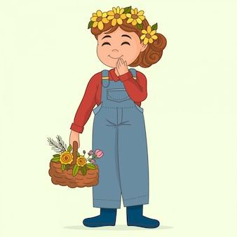 Menina segurando cesta de flores