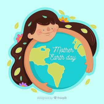 Menina, segurando, globo, mãe terra, dia, fundo