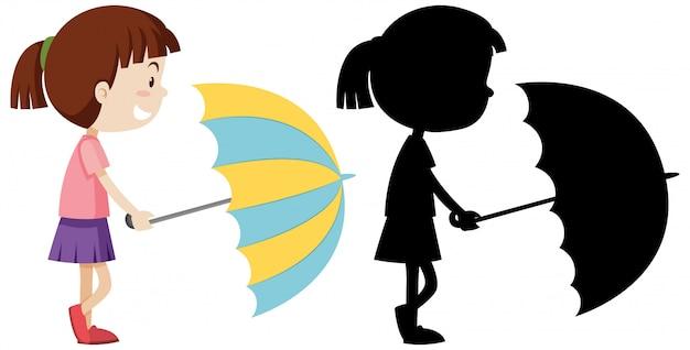 Menina segurando guarda-chuva com sua silhueta