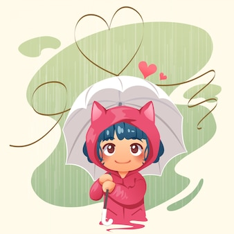 Menina, segurando guarda-chuva, em, a, chuva, e, abstratos, coração