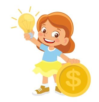 Menina segurando lâmpada elétrica e dinheiro