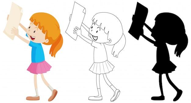 Menina, segurando o papel com seu contorno e silhueta