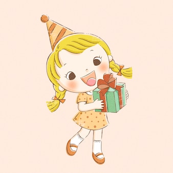 Menina segurando o presente de aniversário na mão desenhada estilo de linha