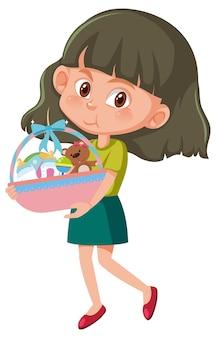 Menina segurando personagem de desenho animado de cesta de brinquedos de bebê isolada no fundo branco