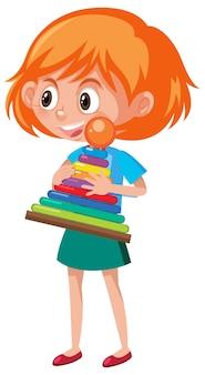 Menina segurando personagem de desenho animado de objeto de arremesso de anel isolado no fundo branco