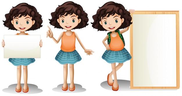 Menina segurando sinal em branco com espaço de escrita