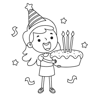 Menina segurando um bolo de aniversário com um chapéu de festa, página de desenho para colorir para crianças