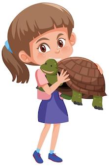 Menina segurando um personagem de desenho animado bonito isolado no fundo branco