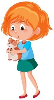 Menina segurando um personagem de desenho animado bonito