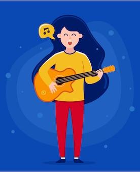 Menina segurando um violão e cantando uma música