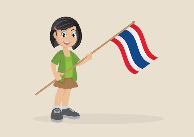 Menina segurando uma bandeira da tailândia.