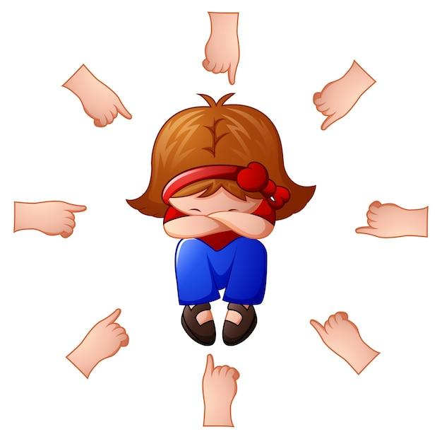 Menina sendo acusada com os dedos apontando para ela