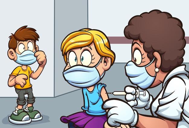 Menina sendo vacinada pelo médico