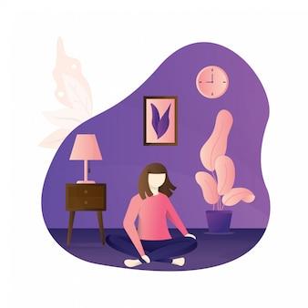 Menina sentada de pernas cruzadas em seu quarto ou apartamento. desenho plano isolado no fundo branco