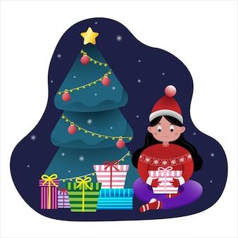 Menina sentada em casa perto de árvore de natal e caixa de presente arround